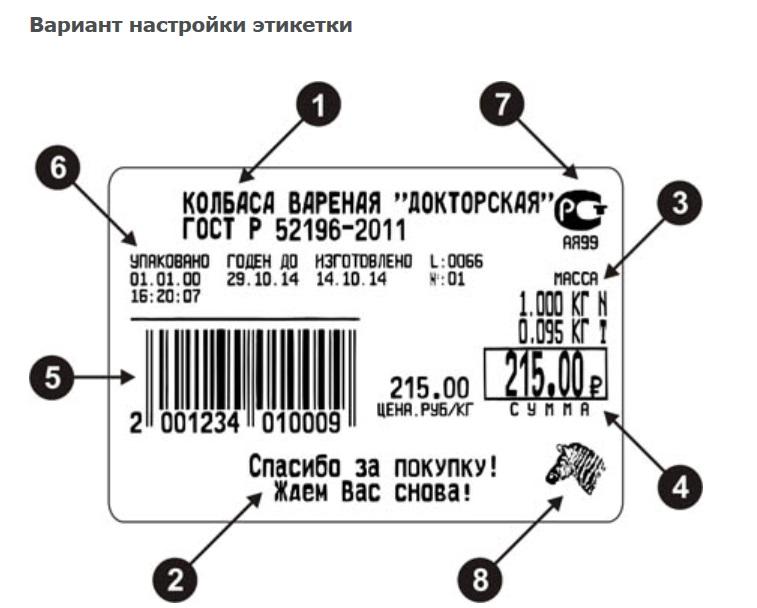Пример этикетки весов Штрих-принт